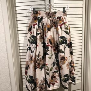 Zara 100% cotton print midi skirt